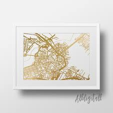 Downtown Portland Map Printable by Gold Foil Boston Map Printable Map Wall Art Boston Map Print