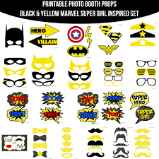 instant download yellow marvel super hero inspired printable