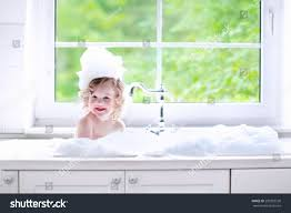 child taking bath little baby kitchen stock photo 290382530