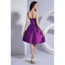 2017 bridesmaid dresses purple a line strapless short mini taffeta