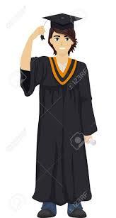 graduation toga illustration of a boy wearing a graduation toga and cap