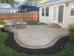 Patio Ideas For Small Backyards Exactly What I Want Concrete Patio With Fire Pit And Sitting Wall