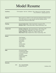 Examples Of Acting Resumes by Sample Resume For Modeling Agency Free Resume Example And