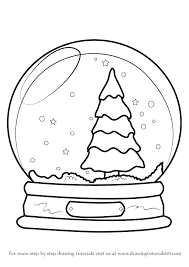learn how to draw snowglobe with christmas tree christmas step