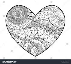Zendoodle Heart Shape Coloring Books Adult Stock Vector 452369815 Books For Coloring