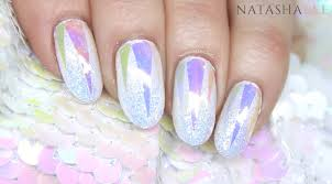 holo glass unicorn nail art with iridescent glitter natasha lee
