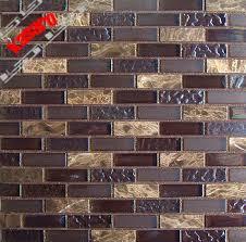 Brick Wall TilesGlass Stone Mosaic StripKitchen Backsplash Tile - Glass stone backsplash