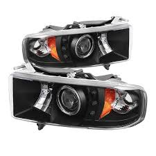 99 dodge ram led lights spyder 5069764 black projector headlights w led halo