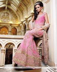 pink embroidered wedding dress de exquisite pink colored bridal lehenga fully embroidered