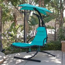 Tree Hanging Hammock Chair Hanging Chaise Lounger Chair Arc Stand Air Porch Swing Hammock