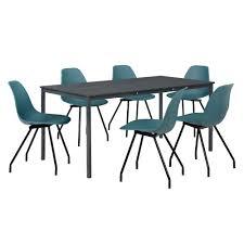 Esszimmertisch Ebay En Casa Esstisch Mit 6 Stühlen Grau Türkis 160x80cm Küchentisch
