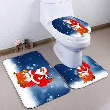 Christmas Bathroom Set by Santa Claus 3pcs Christmas Bathroom Toilet Mats Set Blue In Bath