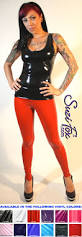 womens leggings shown in red gloss vinyl pvc custom made by suzi fox