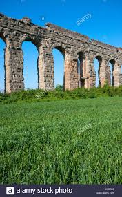 ruins of roman aqueduct parco degli acquedotti park of the stock