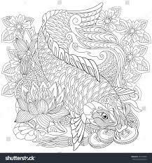 zentangle stylized cartoon koi carp isolated stock vector