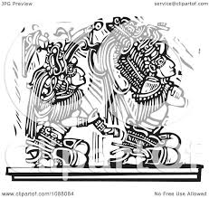 clipart mayan warrior seated behind a king black and white woodcut