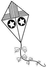 kite black white kite coloring pages free clipart images