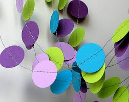 paper garland shades of purple and turquoise garland