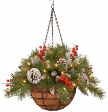 Frosted Berry Hanging Basket With Battery Operated Warm White Led