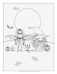 free halloween art two little witches free halloween coloring page by molly harrison