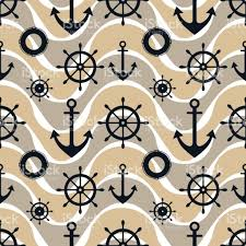 Nautical Theme Vector Seamless Pattern With Anchor Steering Wheel Symmetrical