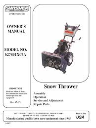 swisher 627851x07a snow thrower owner u0027s manual gasoline