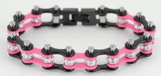black bracelet pink images Bike chain bracelets biker jewelry wholesale stainless steel jpg
