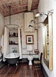 Rustic Bathroom Shower Ideas - cool shower room ideas with white shower curtain and modern track