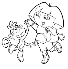 dora boots coloring kids coloring