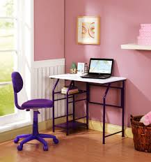brown small computer desk design and cream wall design ideas and