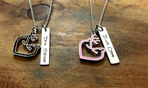 Buck And Doe Couples Necklace Her Buck His Doe Hand Stamped Necklace Set With Buck Doe