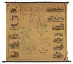 Ma Map Wall Map Of Leicester Massachusetts Rare U0026 Antique Maps