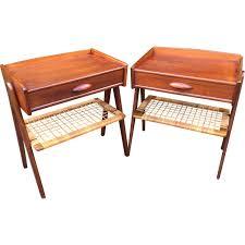 Vintage Bedside Tables Pair Of Teak And Wicker Vintage Bedside Tables 1960s Design Market