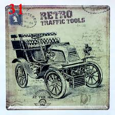 Vintage Wholesale Home Decor Aliexpress Com Buy Retro Traffic Tools Vintage Car Tin Signs