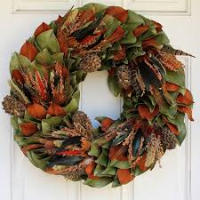 turkey feather wreath dried magnolia and feather outdoor wreath at homeinfatuation