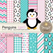 penguin baby shower penguin girl digital paper and clipart winter snow penguins for