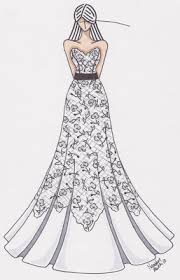 drawing wedding dresses wedding dress modern design pencil and in color
