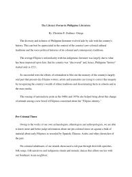 the literary forms in philippine literature docx copied net