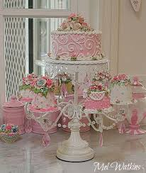 pastel pink shabby chic faux cakes and ornate cake stand my pink