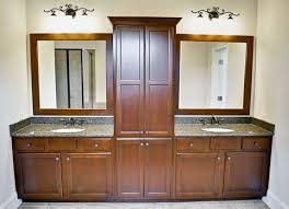 double sink vanity with middle tower double vanity with linen tower middle google search glass shelves