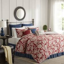 Duvet Red Madison Park Georgia Red Cotton Twill Reversible 9 Piece Duvet