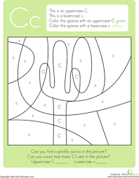 color by letter capital and lowercase c worksheet education com