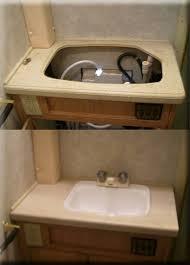 Rv Bathroom Remodeling Ideas Renovated Rv Bathroom Sink Floor There S Space Around Toilet