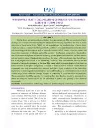 who world health organization guidelines for standardization of