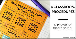 Bathroom Pass Punch Card 4 Classroom Procedures For Middle Maneuvering The Middle