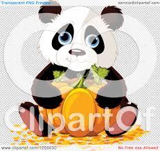 cute halloween png clipart of a cute halloween panda hugging a pumpkin royalty free