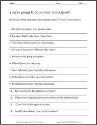 free printable your you u0027re worksheet for english language arts