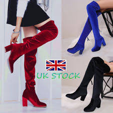 womens boots ebay uk s velvet knee boots ebay