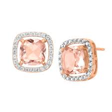 cubic zirconia stud earrings 3 1 2 ct simulated morganite cubic zirconia stud earrings in 18k