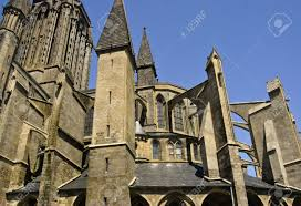 flying buttresses on the apse of coutances cathedral france